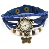 Festival Offer Blue Casual Analog Leather Women Wrist Watch (original)
