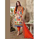 Saara Cream And Orange Embroidered Cotton Unstitched Dress Material