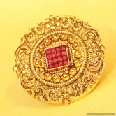 Antique Gold Look Ruby Adjustable Ring