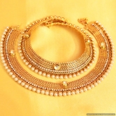 Gold Look Pearl  And  Kundan Anklets