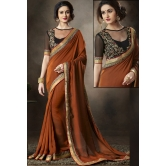 Brown Satin Party Wear Saree With Blouse