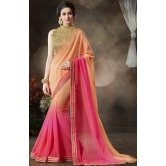 Pink Georgette Party Wear Saree With Blouse