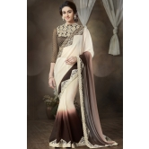 Beige Chiffon Indian Designer Saree With Blouse