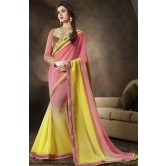Yellow Chiffon Festival Saree With Blouse