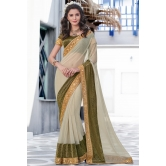 Beige Lycra Party Wear Saree With Blouse