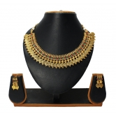 Traditional & Beautiful Red And Green Temple Coin Necklace Set For Indian Women