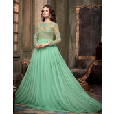 Mint Green Embroidered Net Anarkali Dress Material