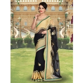 Shonaya Beige & Black Colour Georgette Embroidery Saree With Unstitched Blouse Piece
