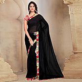Shonaya Black Colour Georgette Printed Saree With Unstitched Blouse Piece