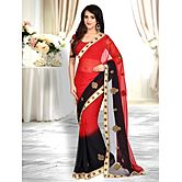 Shonaya Red & Black Colour Georgette Embroidered Saree With Unstitched Blouse Piece