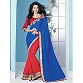 Shonaya Red & Blue Colour Designer Georgette Patch Work Saree With Blouse Piece