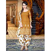 Mustard Printed Poly Cotton Unstitched Salwar Suit