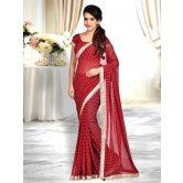 Shonaya Red Colour Georgette Lace Border Saree With Unstitched Blouse Piece
