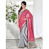 Pink And Grey Patch Worked Jacquard Saree