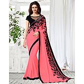 Shonaya Pink Colour Georgette Embroidery Saree With Unstitched Blouse Piece