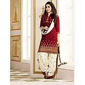 Red Embroidered Camb...
