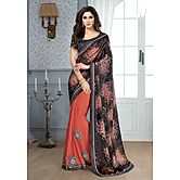 Shonaya Coral & Black Colour Chiffon Embroidery Saree With Blouse Piece