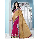 Shonaya Tan & Pink Colour Designer Georgette Patch Work Saree With Blouse Piece