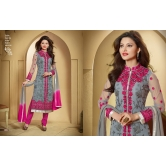 Urwashi Rautela Georgette Grey  Semi Stitched Anarkali Suit