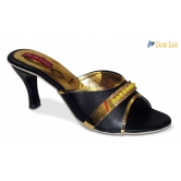 Zikrak Exim Fashionable Black,gold Heels Style (size ,8 Uk /india)