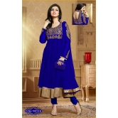 Stylish Blue Color Embroidery Worked Net Anarkali Suit.