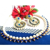 Dark Blue Pearl Polki Earring And Necklace