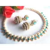 Sea Blue Pearl Gota Necklace Set