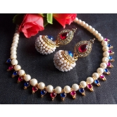 Pink And Blue Pearl Gota Necklace Set
