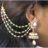 White Pearl Jhumka With Pearl Ear Chian Earring