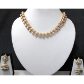 White Pearl Double Line Gota Necklace Set