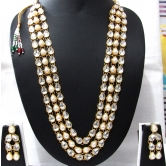 3 Line White Pearl Kundan Necklace Set