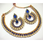 Dark Blue Tilak Pearl Polki Necklace Set