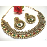 Maroon Green Tilak Pearl Polki Necklace Set