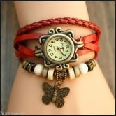 Red Casual Analog Leather Women Wrist Watch (original) - Watches By Shree Sai Trading