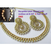 Golden Polki Necklace Set With Free Kaan Ear Cuff