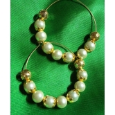 Golden Cover Pearl Hoops Earring