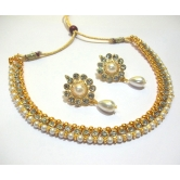Pearl Drop Flower Golden Polki Necklace Set
