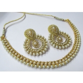 Golden Pearl &  Pearl Polki Necklace Set