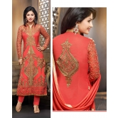 Orange Georgette Embroidery Suit