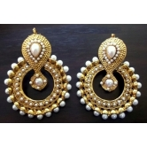 Beautiful Elegant White Pearl Polki Earrings