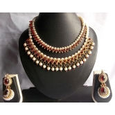 Buy Two Maroon Pearl Gota Necklace Set