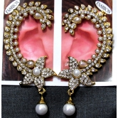 Flower White Pearl Drop Kaan Ear Cuffs Earrings