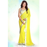 Yellow Designer Border Indian Traditional Partywear Saree By Silkcity