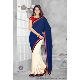 Nevyblue & Whitecream Plain Half And Half Designer Saree With Golden Embroidery Lace By Silkcity