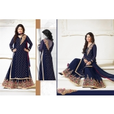 Blue Color Plazo Georgette Embroidered Suit