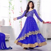 Free Shipping_blue Color Soft Net Fabric Party Wear Anarkali Dress