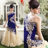 Wedding Wear Blue Velvet Gown