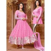 Styles Closet (tm) Pink Georgette Anarkali Suit