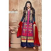 New Latest Designer Blue And Red Salwar Suit