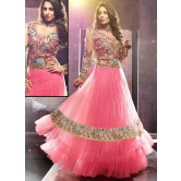 Sangeeta Ghosh Pink Net Floor Length Anarkali Suit